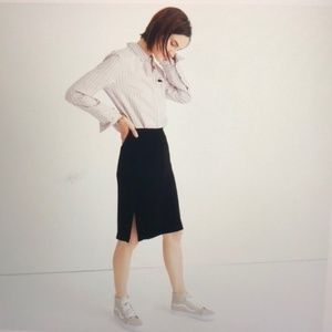 Madewell Black Velvet Pencil Skirt Size 8